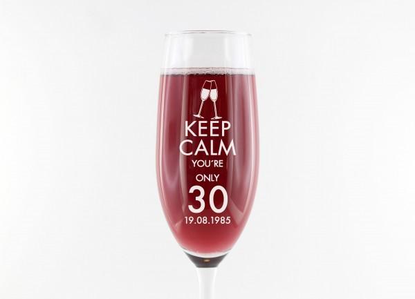 Sektglas personalisiert, Keep calm