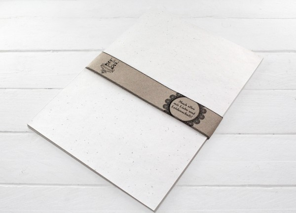 Handgeschöptes Briefpapier weiß/gold