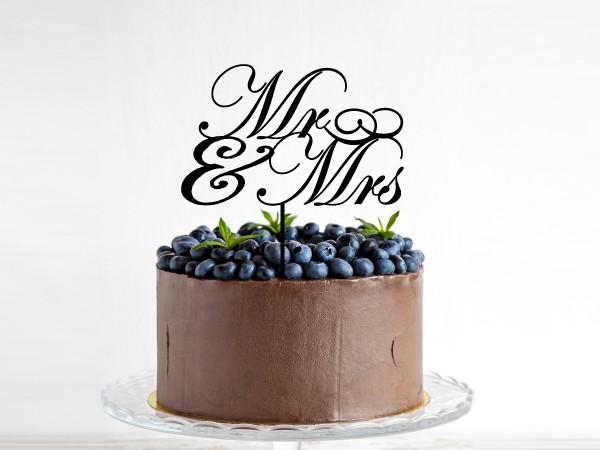Kuchenstecker mit Text Mr. & Mrs. Mann und Frau