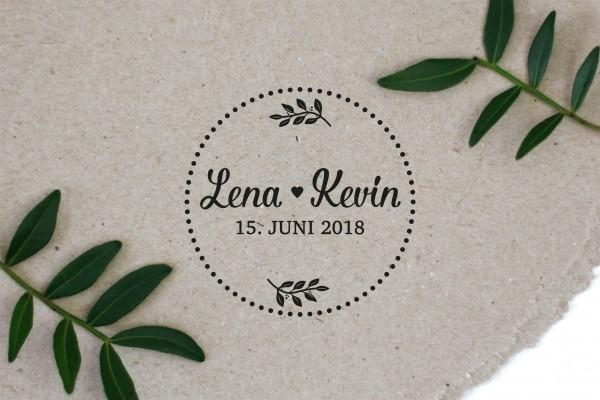 Hochzeitsstempel Vintage - Name und Datum personalisiert