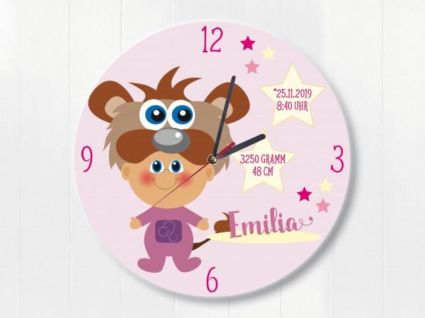 Geburtsdaten Wanduhr mit Sternzeichen Löwe für Mädchen