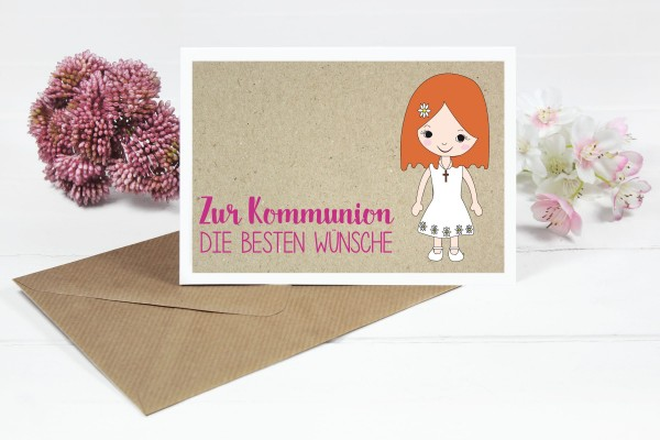 Glückwunschkarte zur Kommunion für Mädchen mit orangen Bob