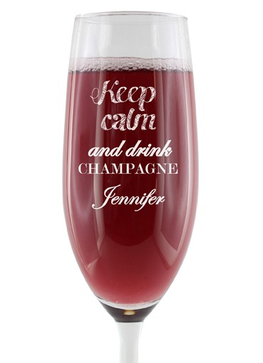 "Personalisiertes Sektglas - ""Keep calm and drink CHAMPAGNE"""