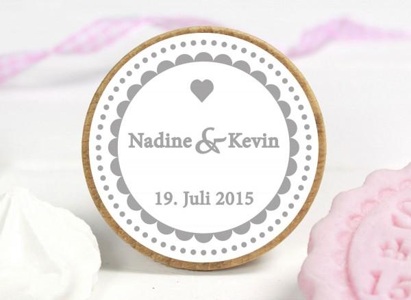 KEKSSTEMPEL für Ihre Hochzeit mit Name und Datum