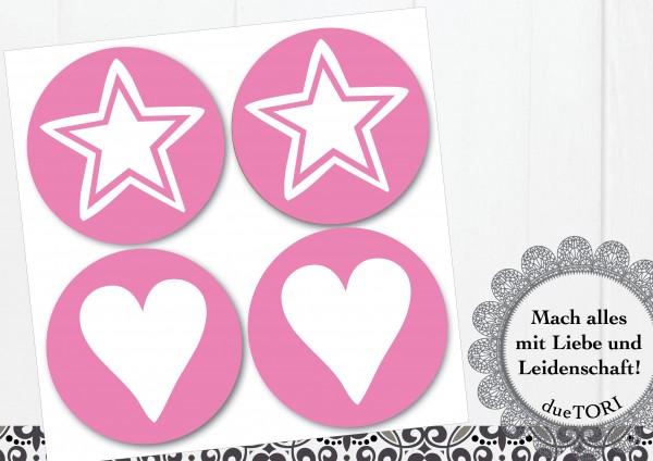 24/15 Sticker - Herz und Stern - Rosa