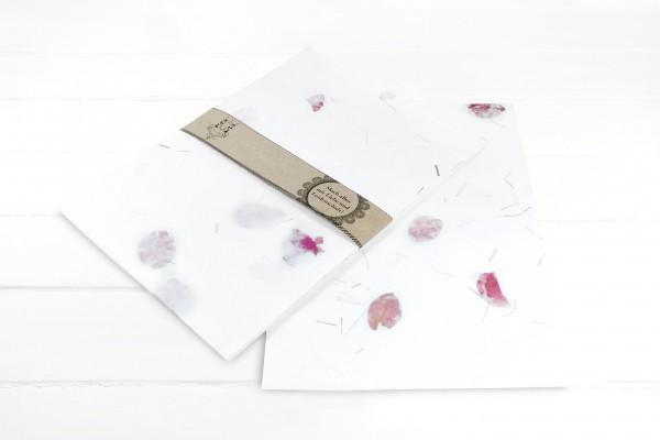 10 Blatt Handgeschöpftes Baumwollpapier mit Rosa Blüten