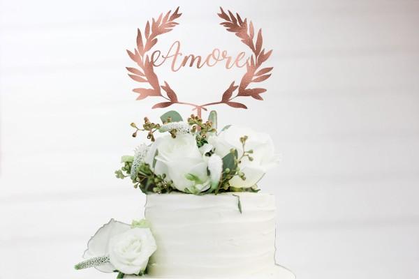 Cake Topper Amore Olivenkranz Blätterkranz in Wunschfarbe