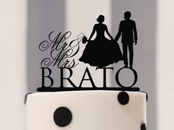 Cake Topper Mr & Mrs mit Braut und Bräutigam Silhouette