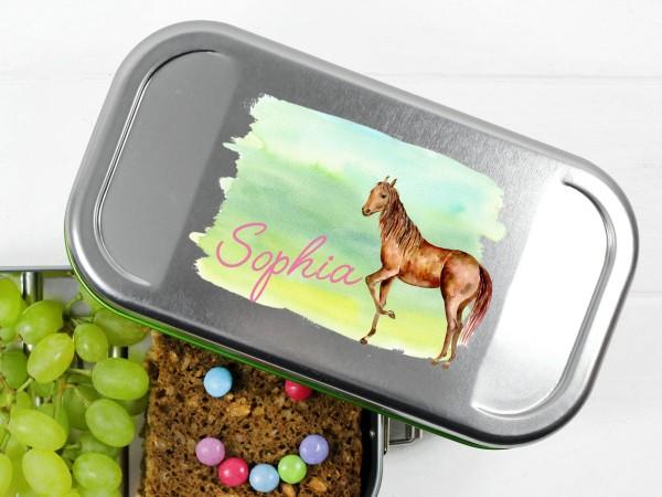 Lunchbox mit Pferd auf Wiese, personalisiert