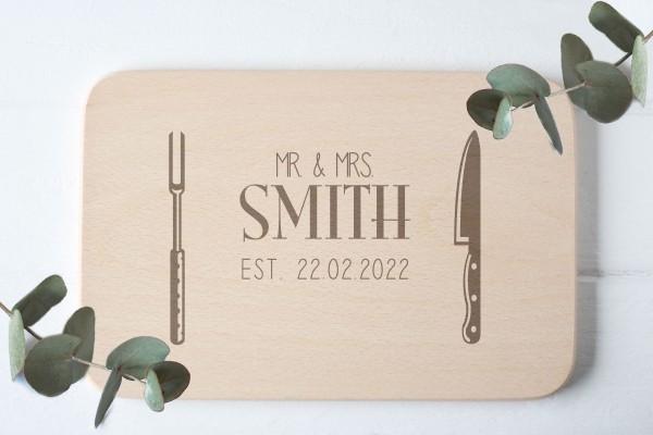 Frühstücksbrettchen mit Namen Hochzeitsdatum Hochzeitsgecshenk