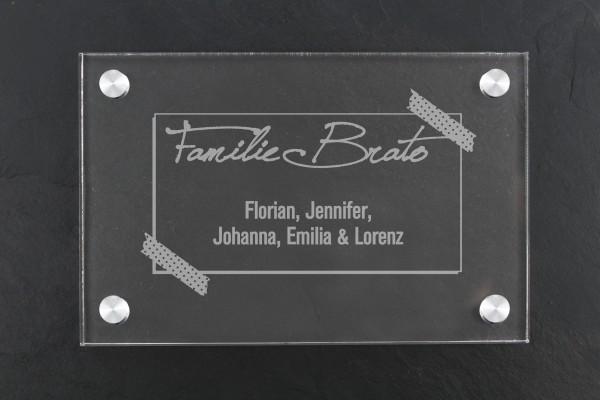 Acrylschild für Haustür Familiennamen Label