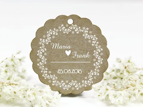 Hochzeitsstempel, Blumenornament, retro, personalisiert mit Namen und Datum