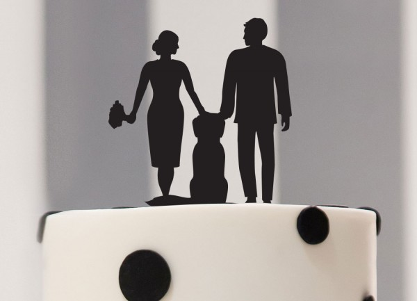 Cake Topper Silhouette Brautpaar mit Hund