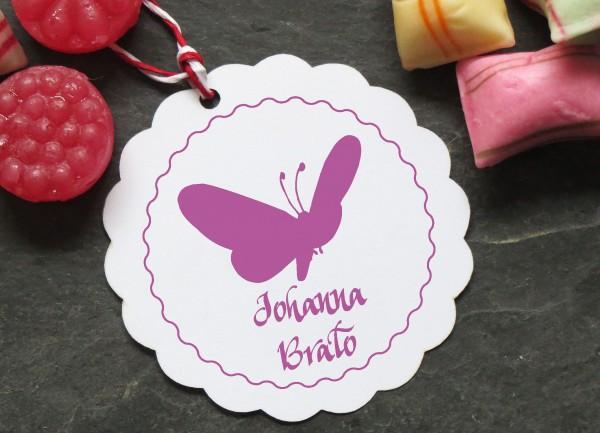 Stempel mit Wunschtext und Schnetterling