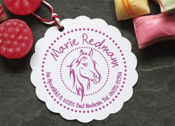 Pferdekopf Stempel für Mädchen mit Adresse