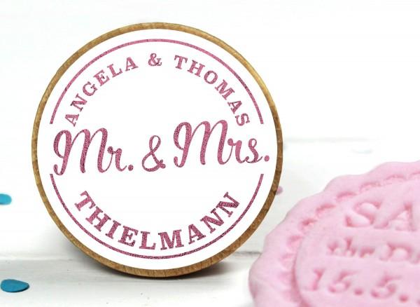 Fondant Stempel zur Hochzeit personalisiert Mr & Mrs