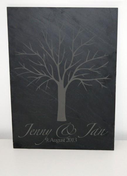 Personalisierter Wedding Tree auf Schieferplatte
