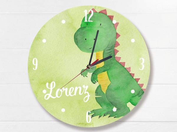 Wanduhr für Kinder mit Dinosaurier und Namen