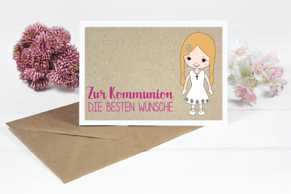 Glückwunschkarte zur Kommunion für Mädchen mit blonden Zöpfen