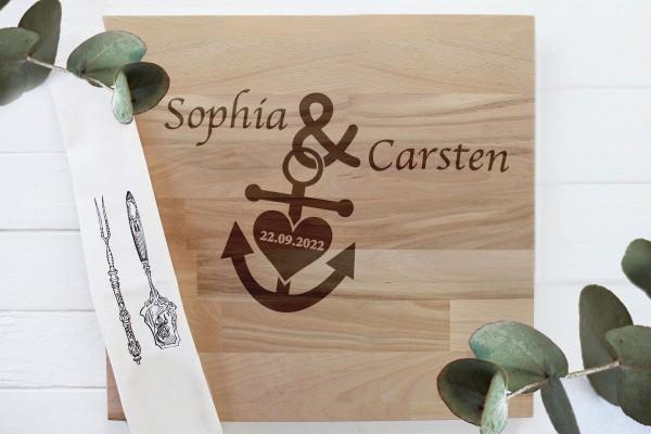 Schneidebrett Brautpaar Hochzeitsgeschenk mit Namen
