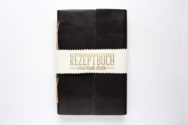 Lederbuch oder Tagebuch - personalisiert in schwarz