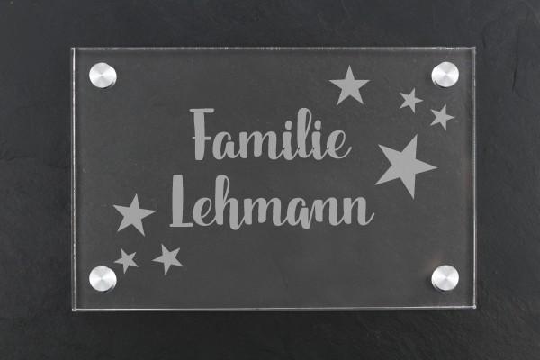 Acrylschild für Haustür Familiennamen mit Sternen