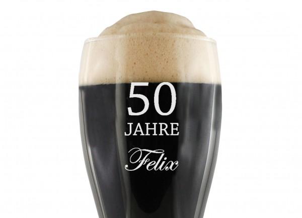 Weizenbier Glas - mit Name zum runden Geburtstag personalisiert