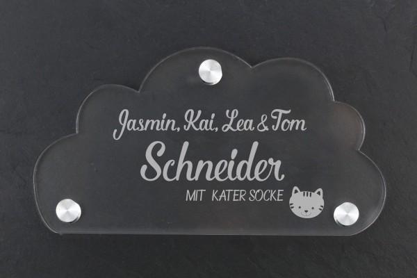 Acrylschild Wolke für Haustür Familiennamen mit Katze