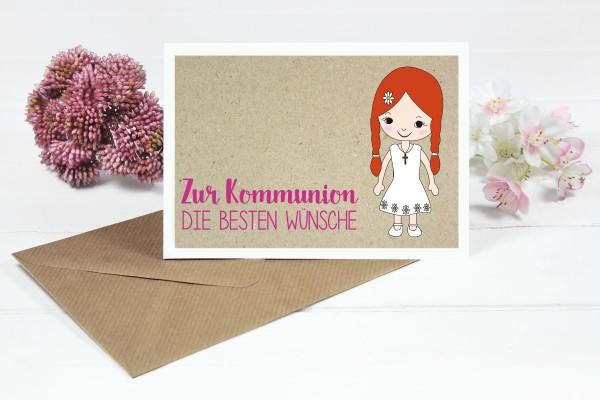 Glückwunschkarte zur Kommunion für Mädchen mit roten Zöpfen