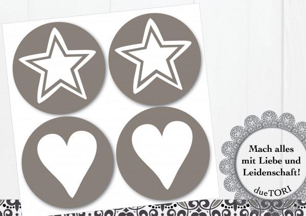 24/15 Sticker - Herz und Stern - Taupe