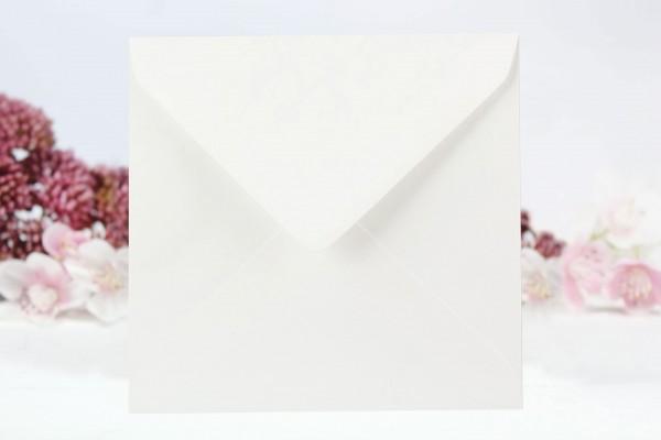 20 Umschläge Weiß gerippt - quadratisch 15 x 15