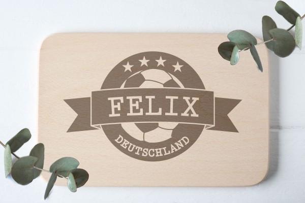 Geschenk für Fussballfans mit Namen Schneidebrett Frühstücksbrett
