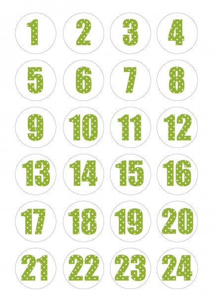 Adventskalender Sticker - Polka Dot Grün/Weiß