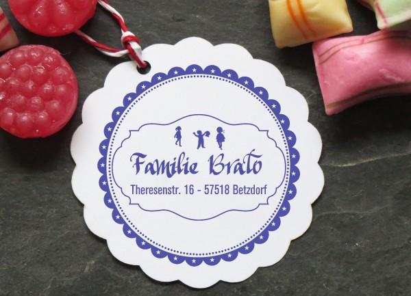 Familienstempel mit Adresse personalisiert