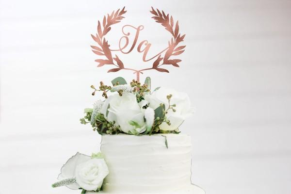 Cake Topper JA Olivenkranz Blätterkranz in Wunschfarbe