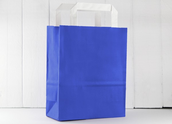 Papier Tüte Royalblau Dunkelblau mit Henkel