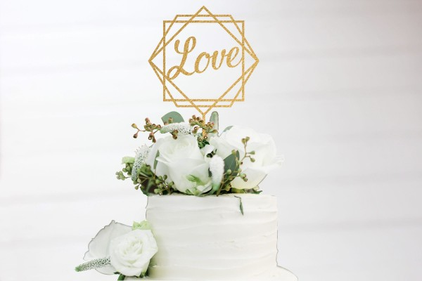 Cake Topper LOVE raute in Wunschfarbe auch Metallic oder Holz