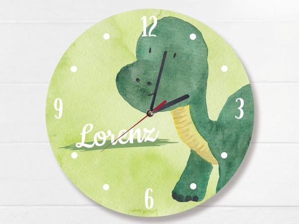 Wanduhr für Kinder mit Langhals Dinosaurier und Namen