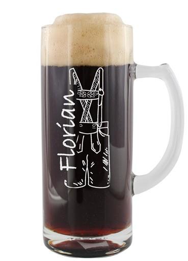 Bierkrug 0,5l - Lederhose mit Namen
