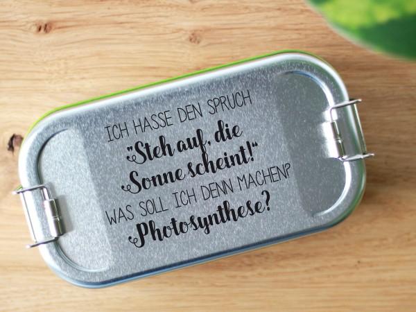 """Brotdose aus Blech mit Trennwand und Spruch """"die sonne scheint"""""""