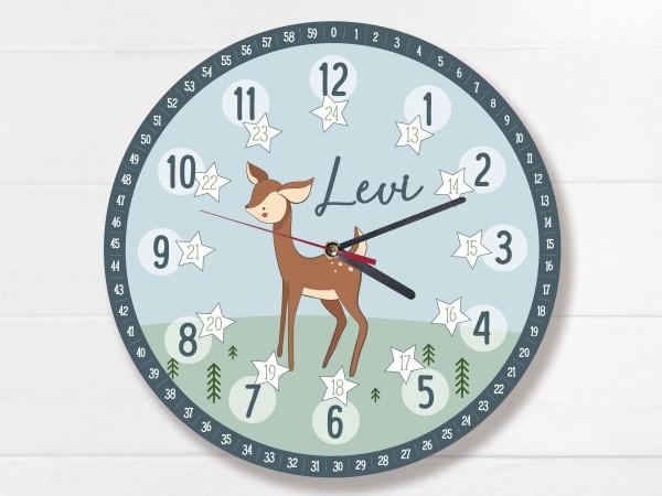 Kinder-Lernuhr mit 12/24 Stunden und Minuten mit Motiv Reh und Namen personalisiert