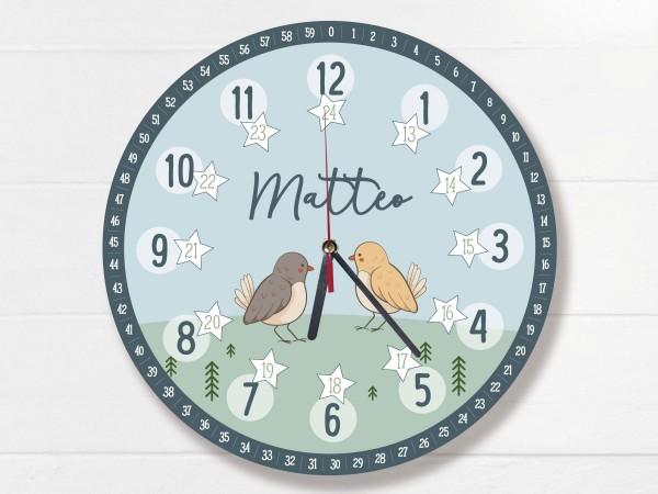 Kinder-Lernuhr mit 12/24 Stunden und Minuten mit Motiv Vögelchen und Namen personalisiert