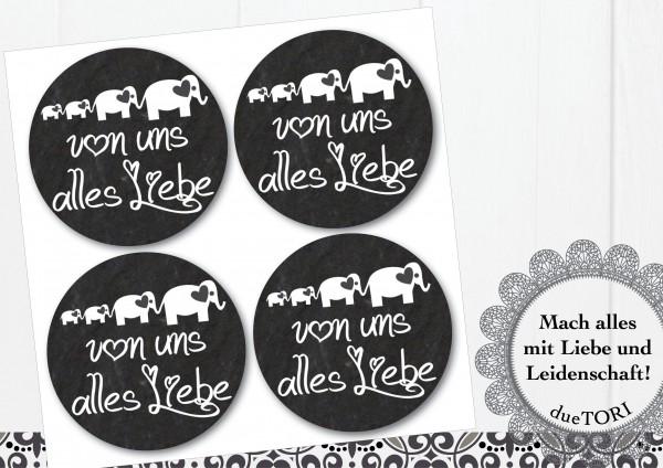 24/15 Sticker - Von uns alles Liebe - Schieferoptik