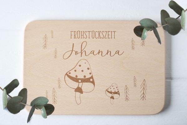 Brotzeitbrett für Kinder mit Fliegenpilz Waldtier