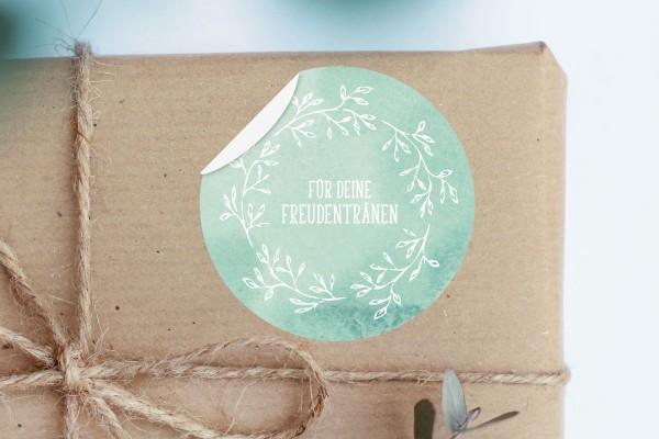 Aufkleber Freudentränen für Taschentücher Etikett