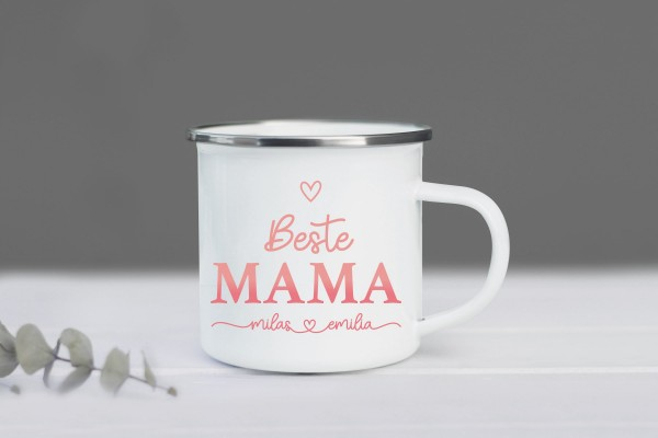 Emaille Tasse Beste Mama mit Namen personalisiert