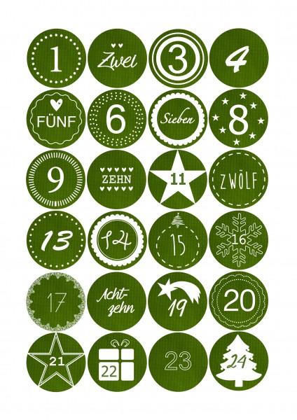 Adventskalender Sticker - Stoffoptik Grün