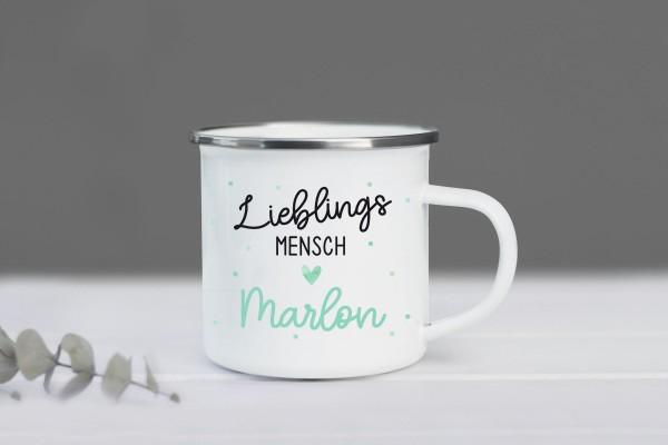 Emaille Tasse Lieblingsmensch mit Namen personalisiert, Fabe: Mint