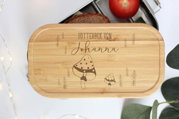 Nachhaltige Brotdose Name auf Lunchbox mit Bambusdeckel Pilze