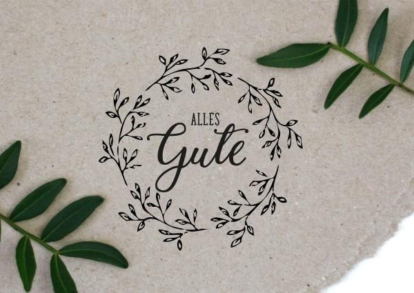 Blumenkranz Stempel mit Spruch Alles Gute
